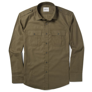 Convoy Two Pocket Men's Utility Shirt In Fatigue Green Mercerized Cotton