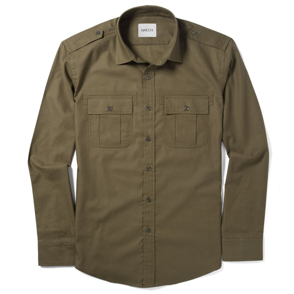Convoy Utility Shirt – Fatigue Green Mercerized Cotton
