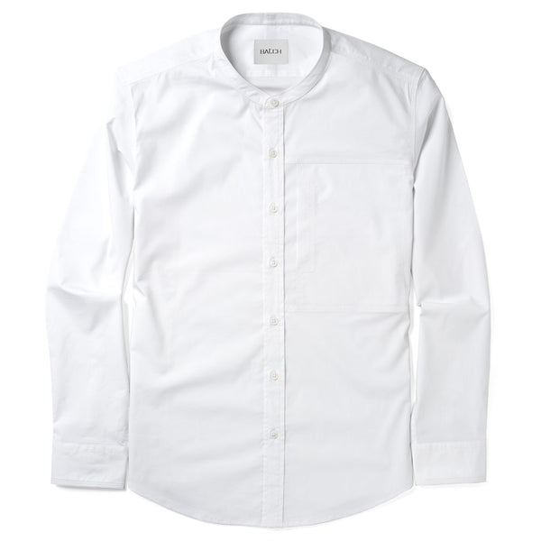 Designer Band-Collar Casual Shirt - Pure White Stretch Poplin