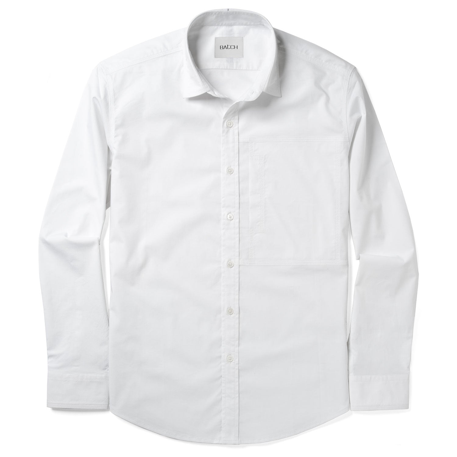 Designer Casual Shirt - Pure White Stretch Poplin