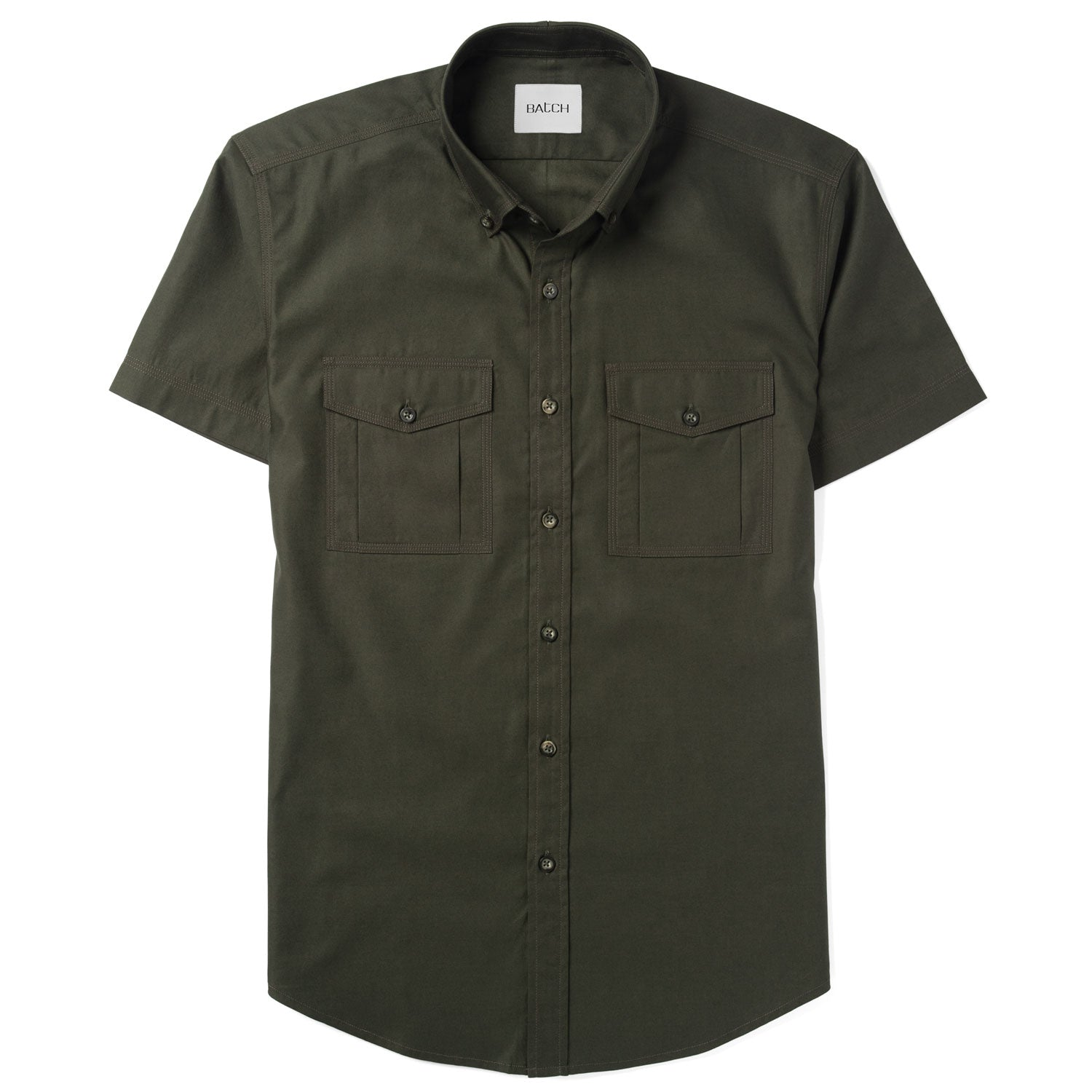 Distiller Short Sleeve Utility Shirt – Olive Green Mercerized Cotton