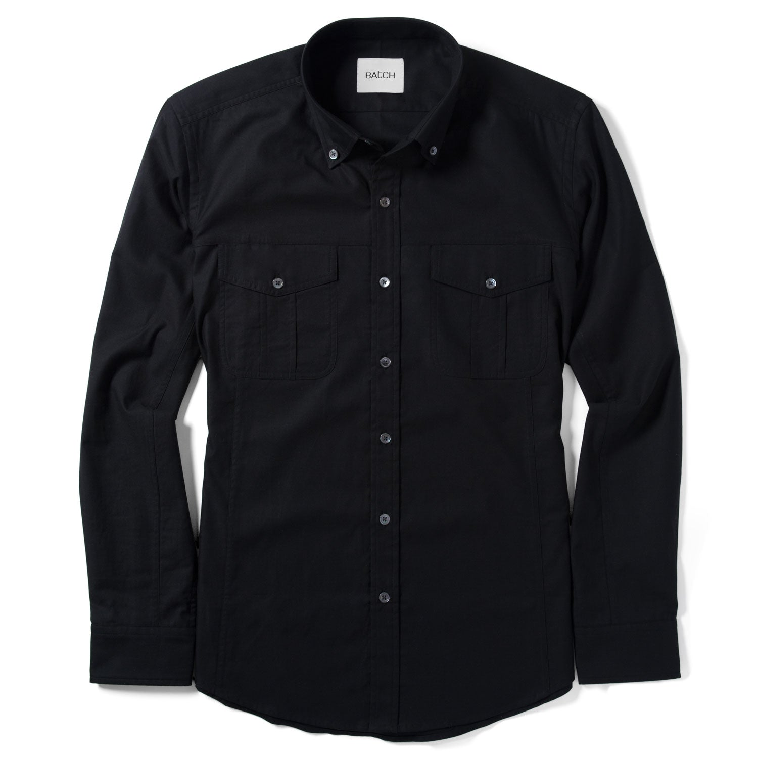Editor Utility Shirt – Jet Black Mercerized Cotton