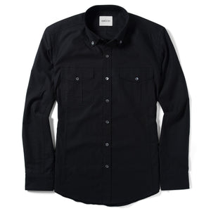 Editor Two Pocket Men's Utility Shirt In Jet Black Mercerized Cotton