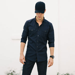 Editor Two Pocket Men's Utility Shirt In Dark Navy Mercerized Cotton On Body