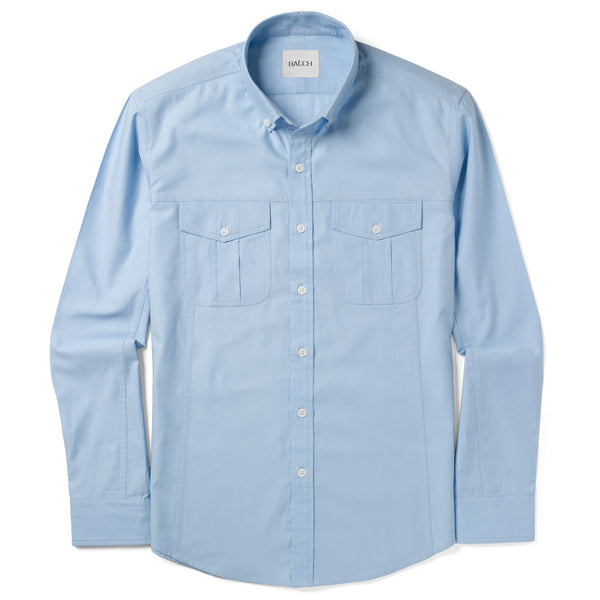 Editor Shirt – Clean Blue Mercerized Cotton