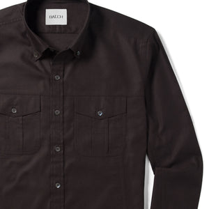 Editor Two Pocket Men's Utility Shirt In Dark Brown Mercerized Cotton Close-Up Image
