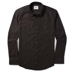 Editor Two Pocket Men's Utility Shirt In Dark Brown Mercerized Cotton