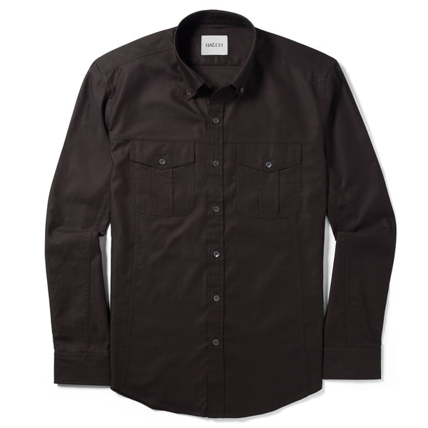 Editor Shirt – Dark Brown Mercerized Cotton
