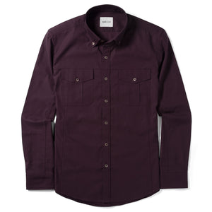 Editor Two Pocket Men's Utility Shirt In Dark Burgundy Mercerized Cotton