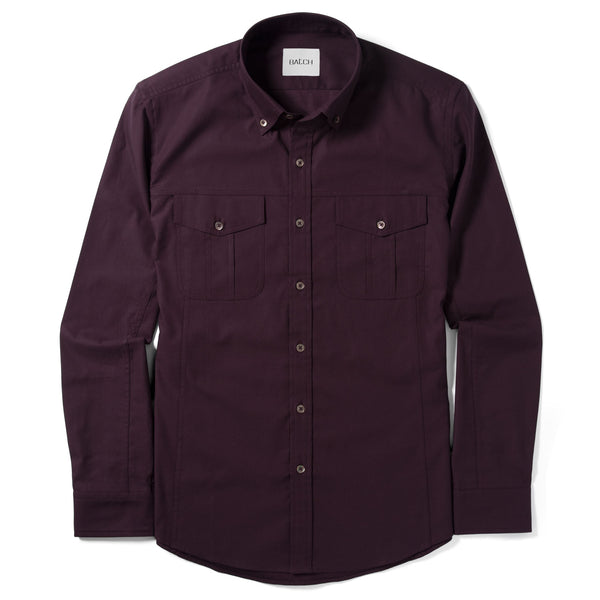 Editor Utility Shirt – Dark Burgundy Mercerized Cotton