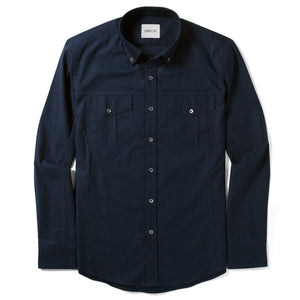 Editor Two Pocket Men's Utility Shirt In Dark Navy Mercerized Cotton
