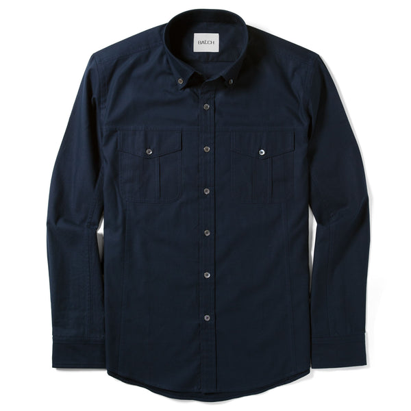 Editor Utility Shirt – Dark Navy Mercerized Cotton