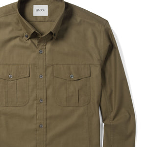 Editor Two Pocket Men's Utility Shirt In Fatigue Green Mercerized Cotton Close-Up Image