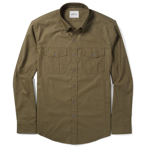 Editor Two Pocket Men's Utility Shirt In Fatigue Green Mercerized Cotton