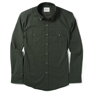 Editor Two Pocket Men's Utility Shirt In Olive Green Mercerized Cotton