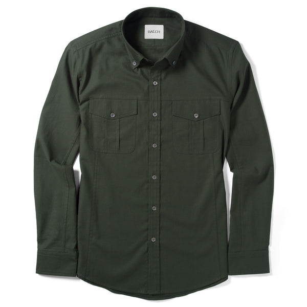 Editor Shirt – Olive Green Mercerized Cotton
