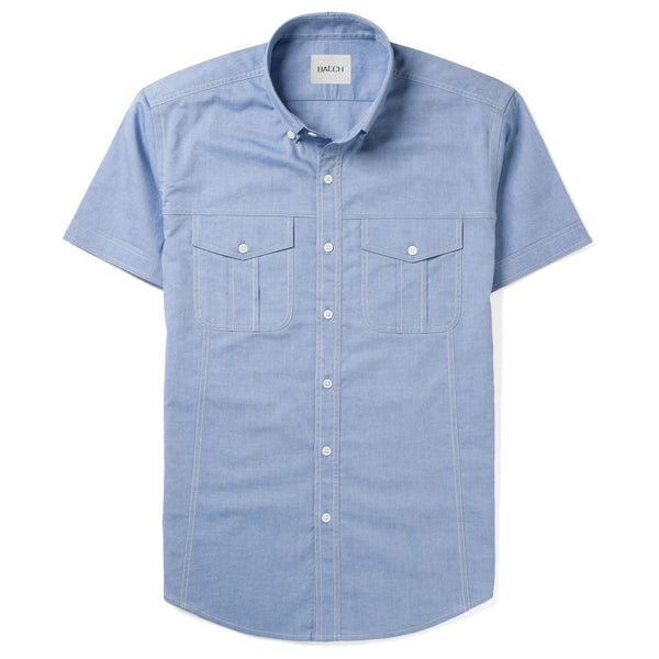 Editor Short Sleeve Utility Shirt – Classic Blue Oxford