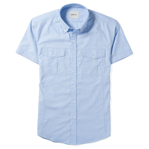 Editor Two Pocket Short Sleeve Men's Utility Shirt In Clean Blue Mercerized Cotton