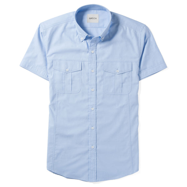 Editor Short Sleeve Utility Shirt – Clean Blue Mercerized Cotton