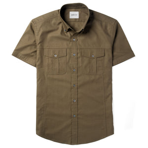 Editor Two Pocket Short Sleeve Men's Utility Shirt In Fatigue Green Mercerized Cotton