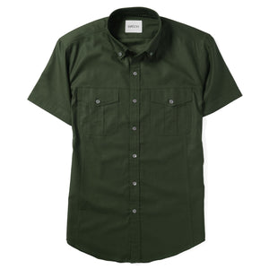 Editor Two Pocket Short Sleeve Men's Utility Shirt In Olive Green Mercerized Cotton