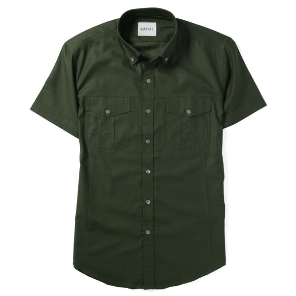 Editor Short Sleeve Utility Shirt – Olive Green Mercerized Cotton