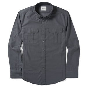 Editor Two Pocket Men's Utility Shirt In Slate Gray Mercerized Cotton