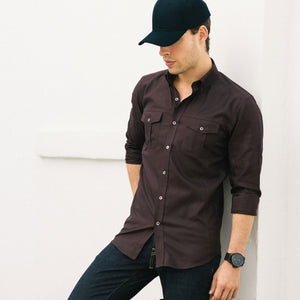 Editor Two Pocket Men's Utility Shirt In Dark Burgundy Mercerized Cotton On Body With Dark Denim