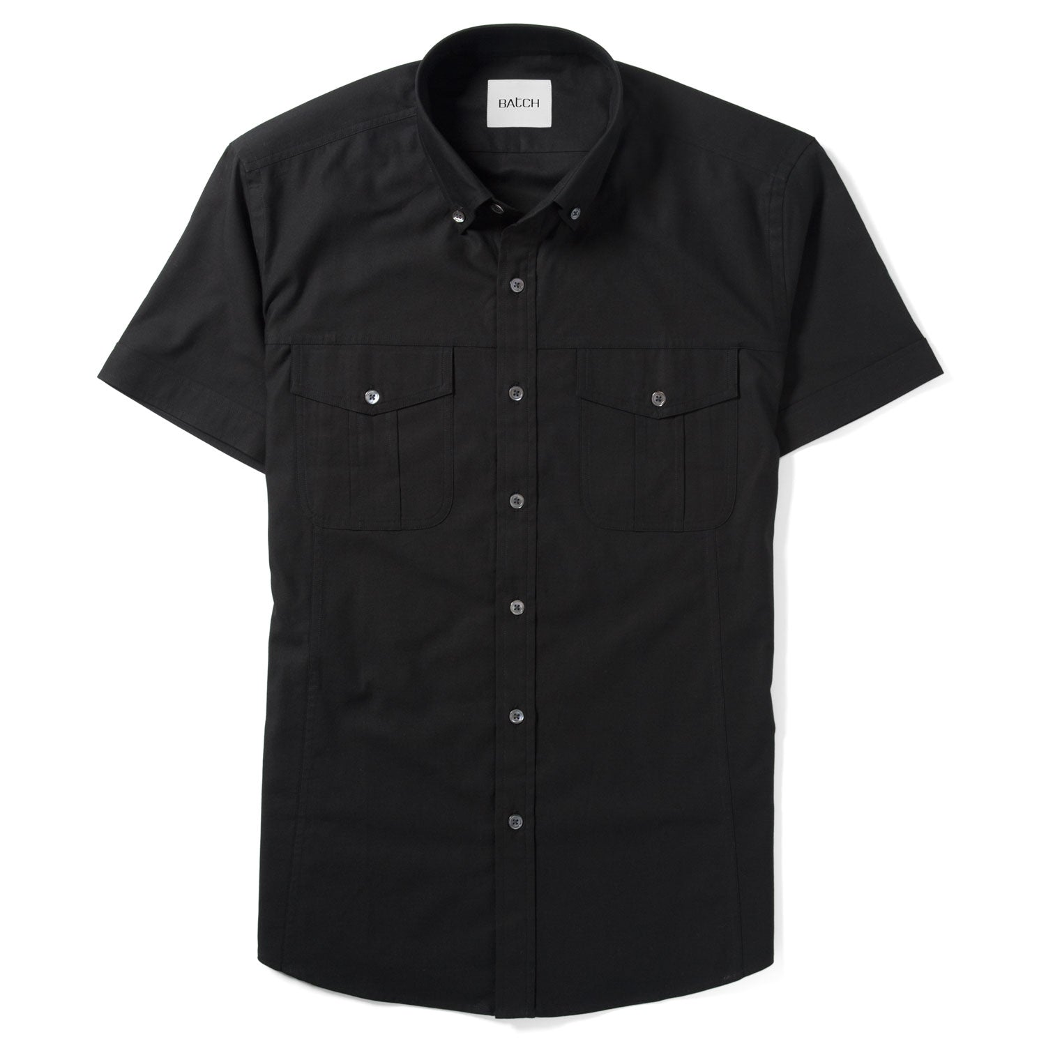 Editor Short Sleeve Utility Shirt – Pure Black Mercerized Cotton