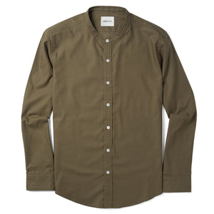 Essential Band Collar Men's Casual Shirt In Fatigue Green Mercerized Cotton With White Buttons