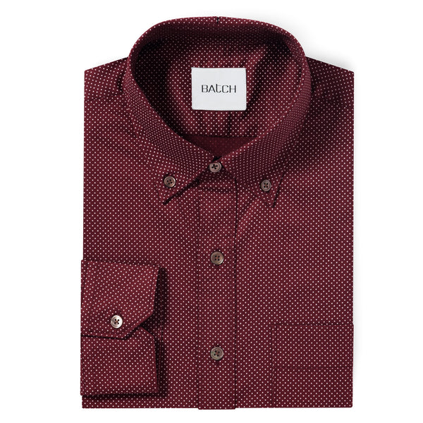 Compact Dots Shirt - Burgundy Mercerized Cotton
