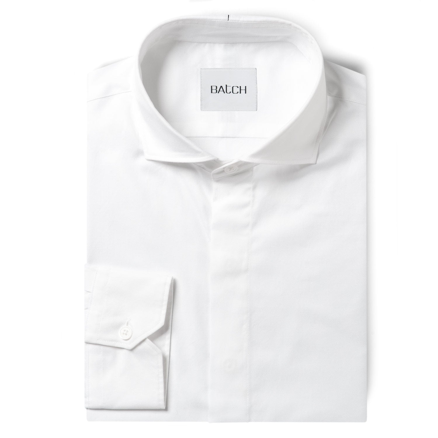 Essential Cutaway Shirt No Pocket Hidden Buttons - Pure White Wrinkle Defiant Twill