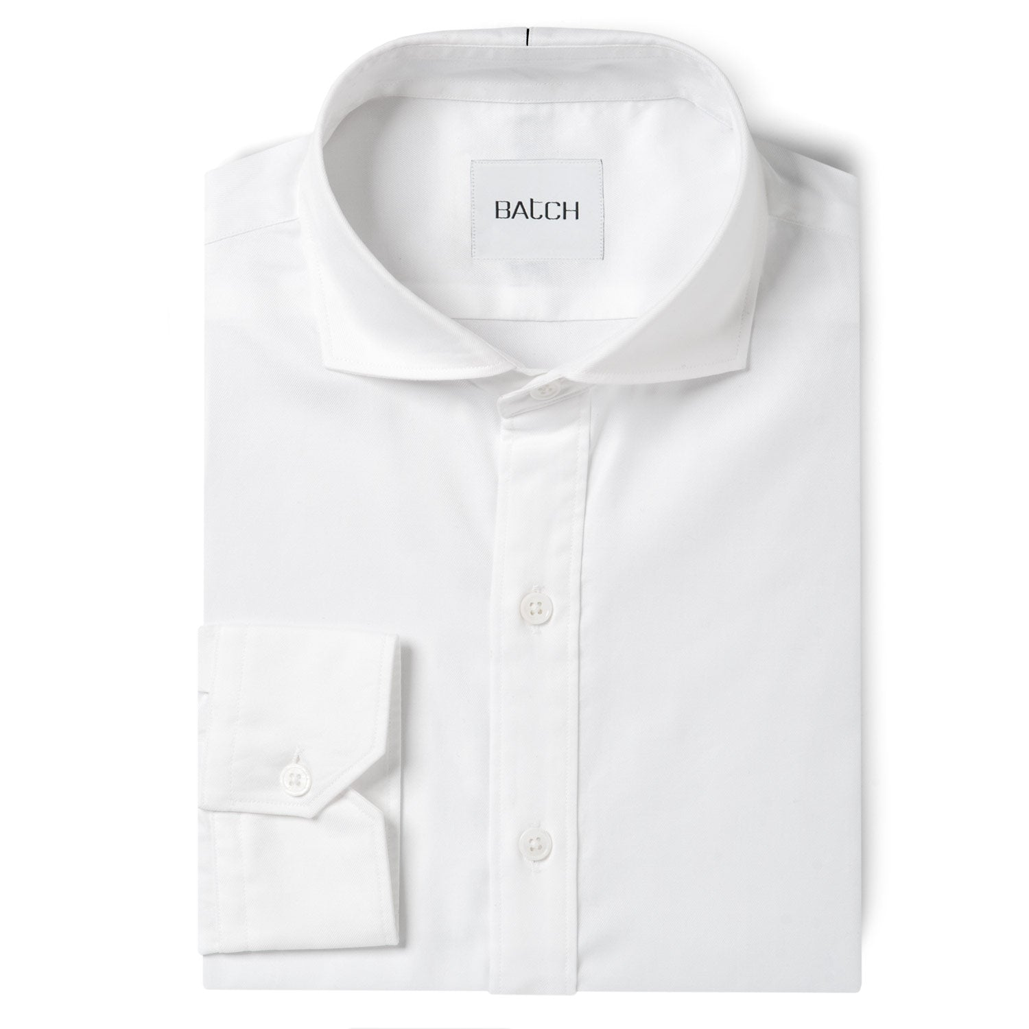 Essential Cutaway Collar Shirt - Pure White Wrinkle Defiant Twill