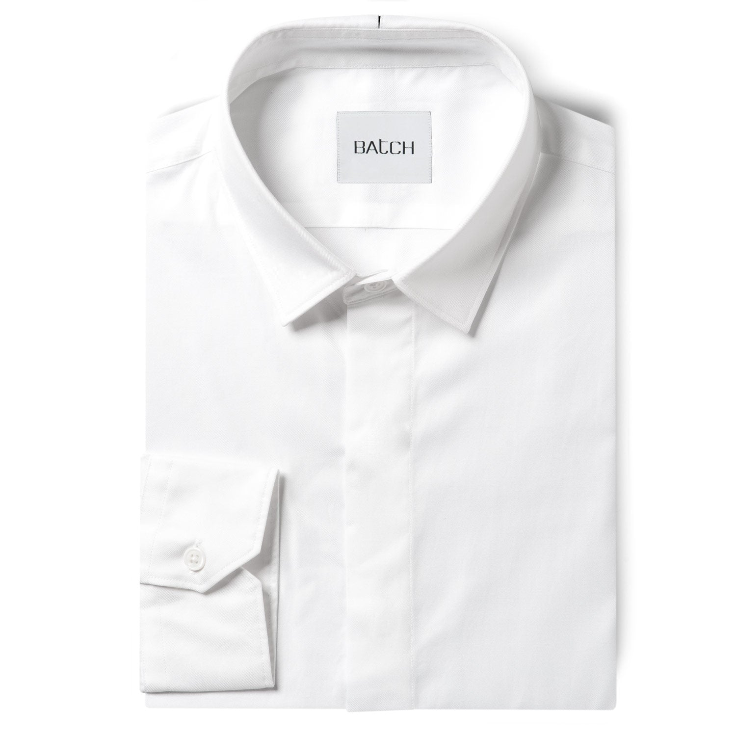 Essential SC Shirt No Pocket Hidden Buttons - Pure White Wrinkle Defiant Twill