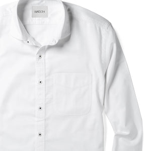 Essential One Pocket Cutaway Collar Men's Casual Shirt In Pure White Cotton Oxford With Black Stitched Buttons Close-Up Image