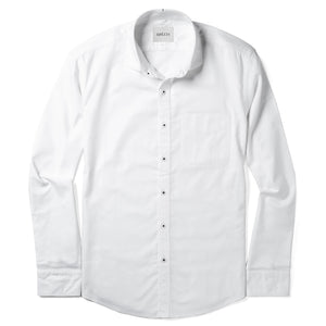 Essential One Pocket Cutaway Collar Men's Casual Shirt In Pure White Cotton Oxford With Black Stitched Buttons