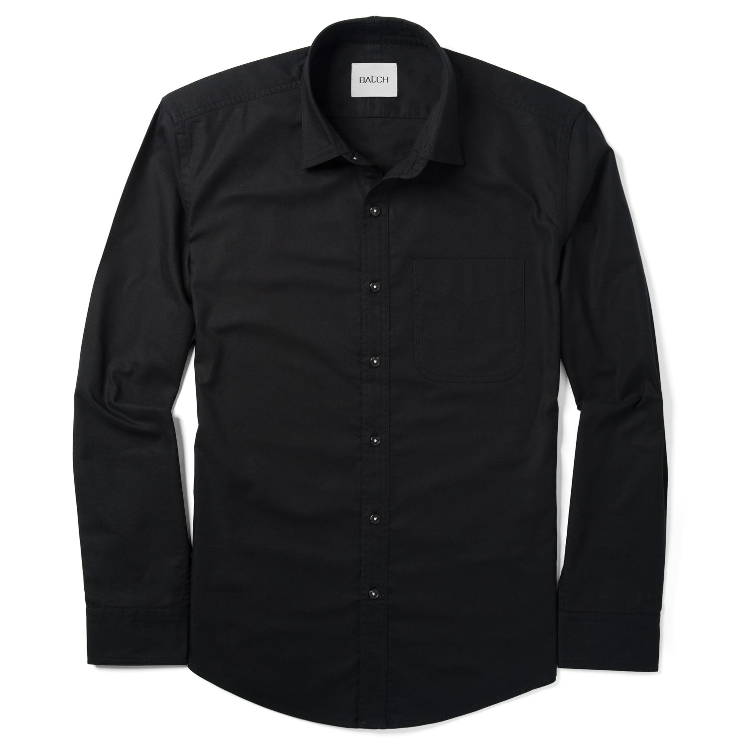 Essential Shirt Spread Collar WSB - Jet Black Cotton Oxford