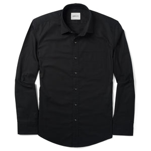 Essential One Pocket Spread Collar Men's Casual Shirt In Jet Black Cotton Oxford With White Stitched Buttons