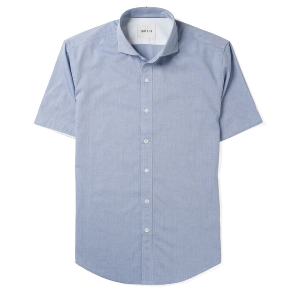Cutaway Collar Short Sleeve Shirt - Classic Blue Royal Oxford