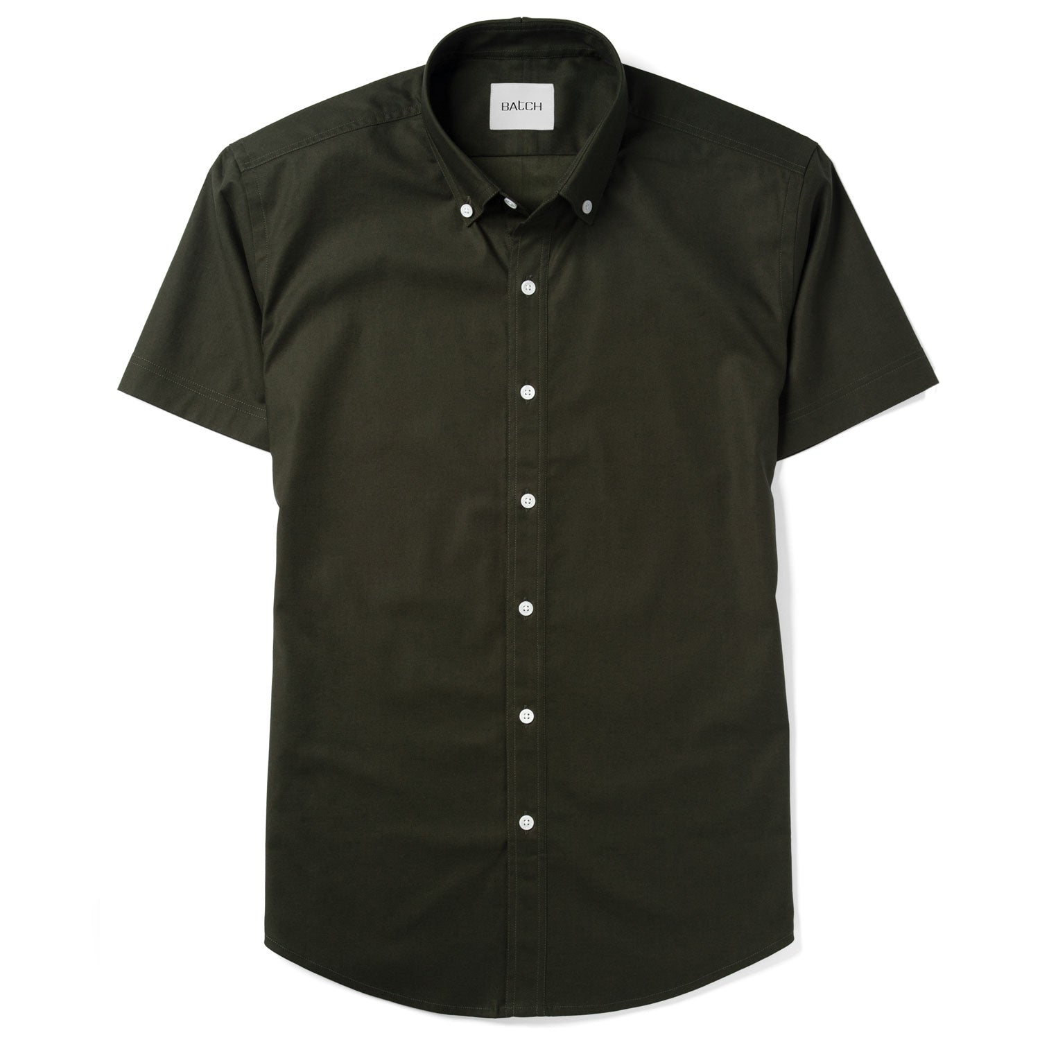 Essential Short Sleeve Casual Shirt - WB Olive Green Stretch Cotton Poplin