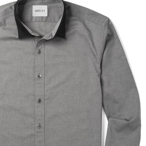 Contrast Collar Men's Casual Shirt In Smoke Gray Cotton Oxford Close-Up Image