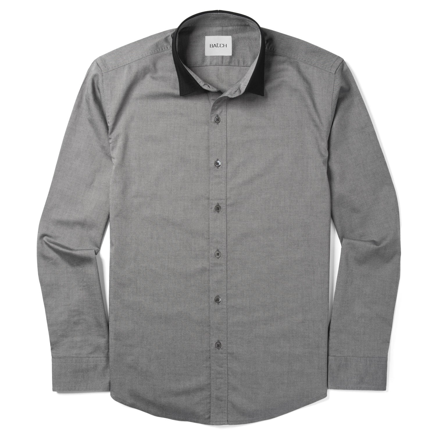 Contrast Collar Ladies Shirt - Smoke Gray Cotton Oxford