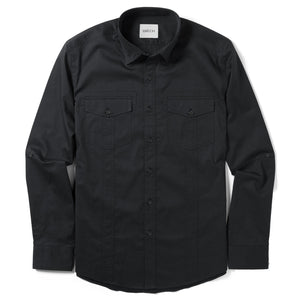 Explorer Two Pocket Men's Utility Shirt In Jet Black Cotton Twill
