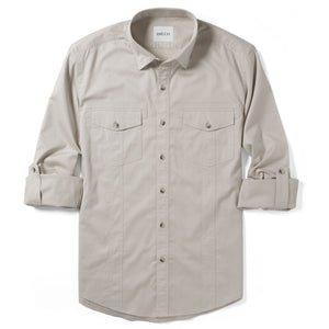 Light Tan Spread Collar Men's 2 Patch Pocket with Roll Sleeves Utility Shirt Western Details in Cotton