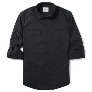 Explorer Two Pocket Men's Utility Shirt In Jet Black Cotton Twill With Sleeves Rolled Up