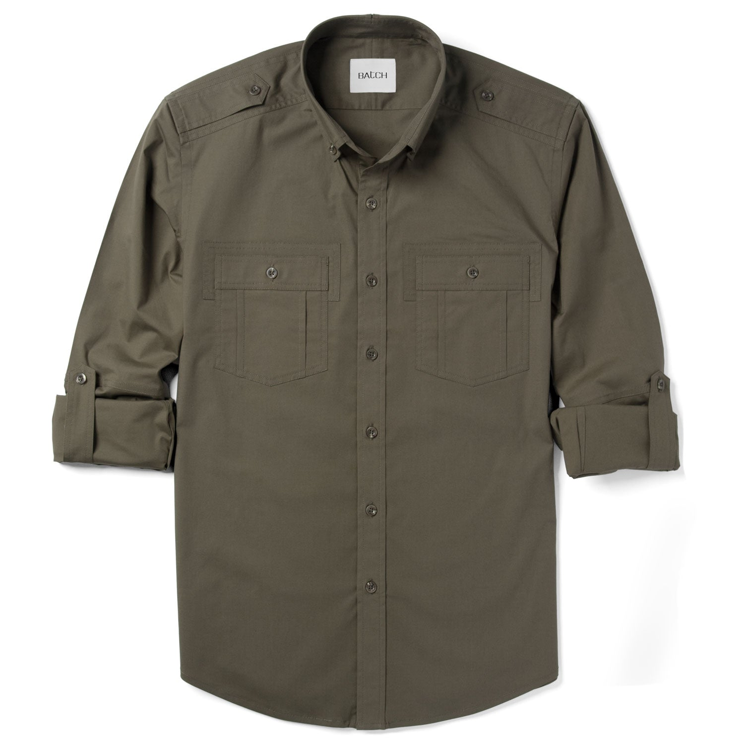 Finisher Utility Shirt – Fatigue Green Stretch Cotton Poplin