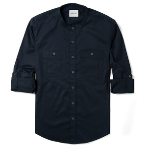 Band-Collar Fixer Two Pocket Men's Utility Shirt In Dark Navy Stretch Cotton Twill With Sleeves Rolled Up