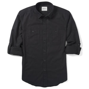 Fixer Two Pocket Men's Utility Shirt In Jet Black Cotton Slub Twill With Sleeves Rolled Up