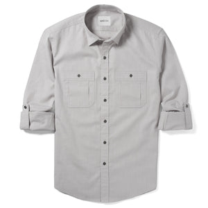 Fixer Two Pocket Men's Utility Shirt In Cement Gray Cotton Slub Twill With Sleeves Rolled Up