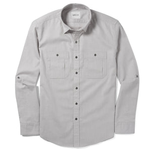 Fixer Two Pocket Men's Utility Shirt In Cement Gray Cotton Slub Twill